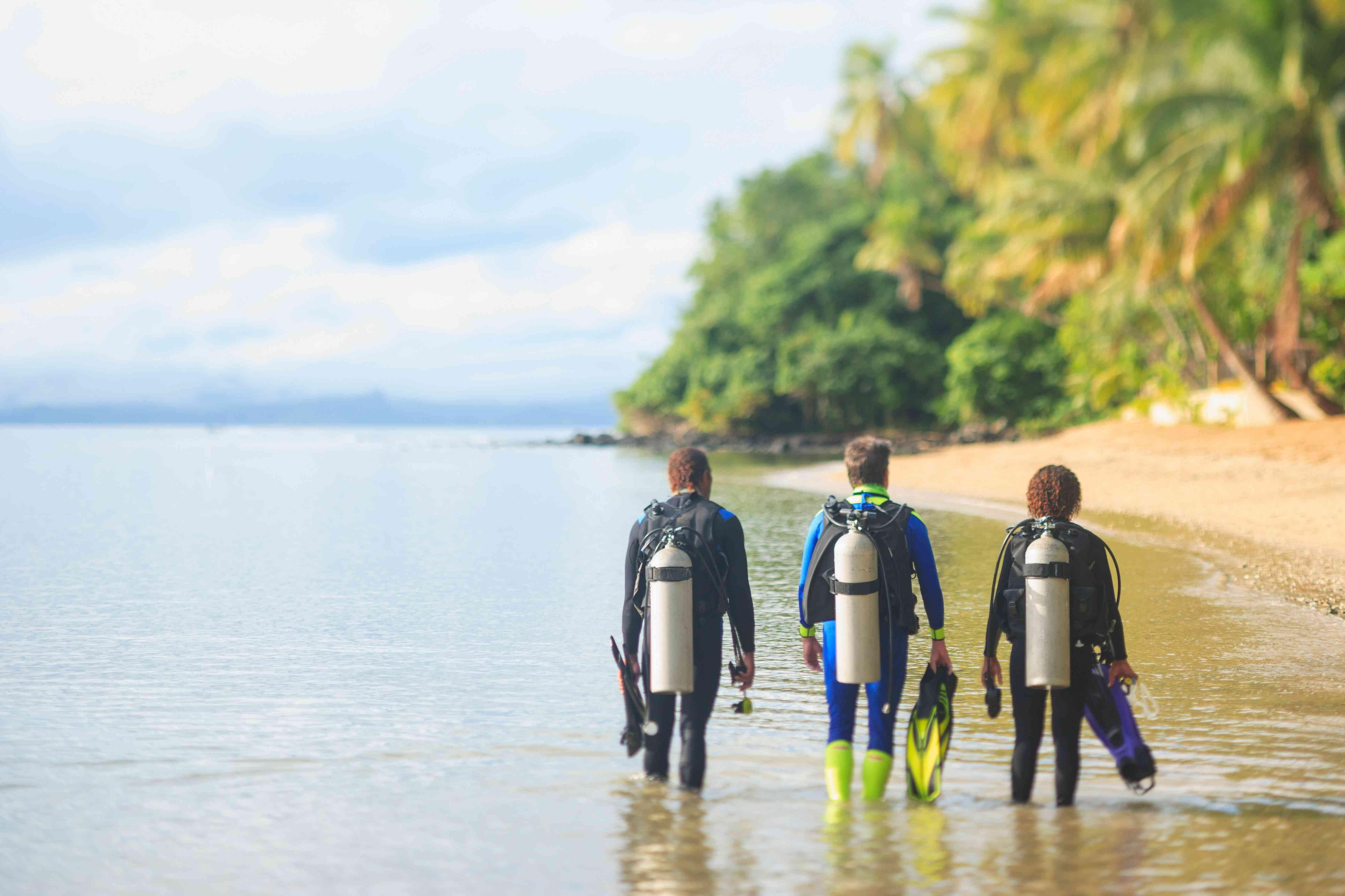 Scuba divers walking on tropical beach
