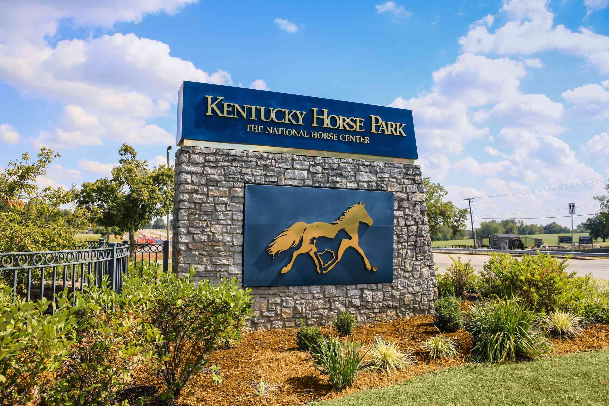 Entrance sign to the Kentucky Horse Park in Lexington, KY, USA
