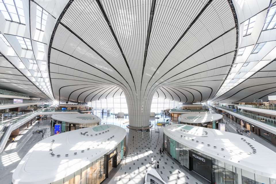 Interior of Daxing International Airport in Beijing