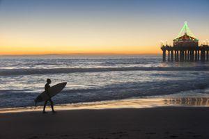 Surfer at Christmas, Manhattan Beach California