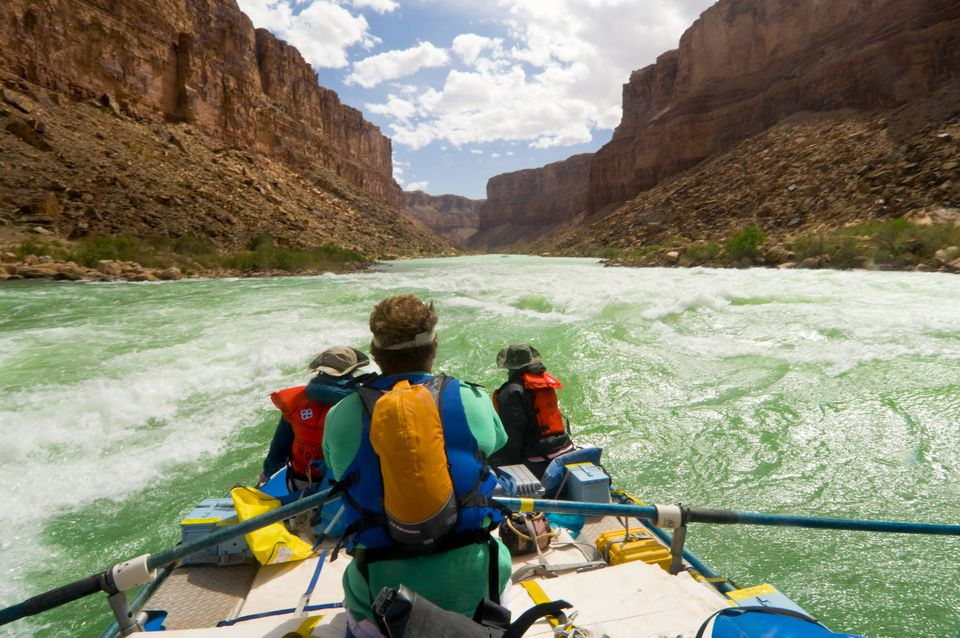 whitewater raft on green river through the grand canyon