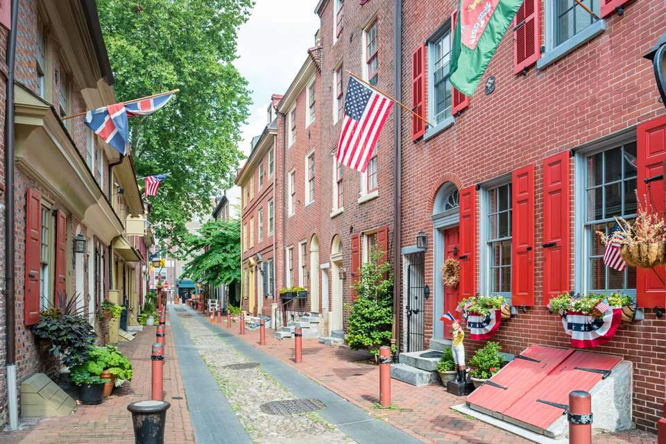 Elfreth's Alley with flags