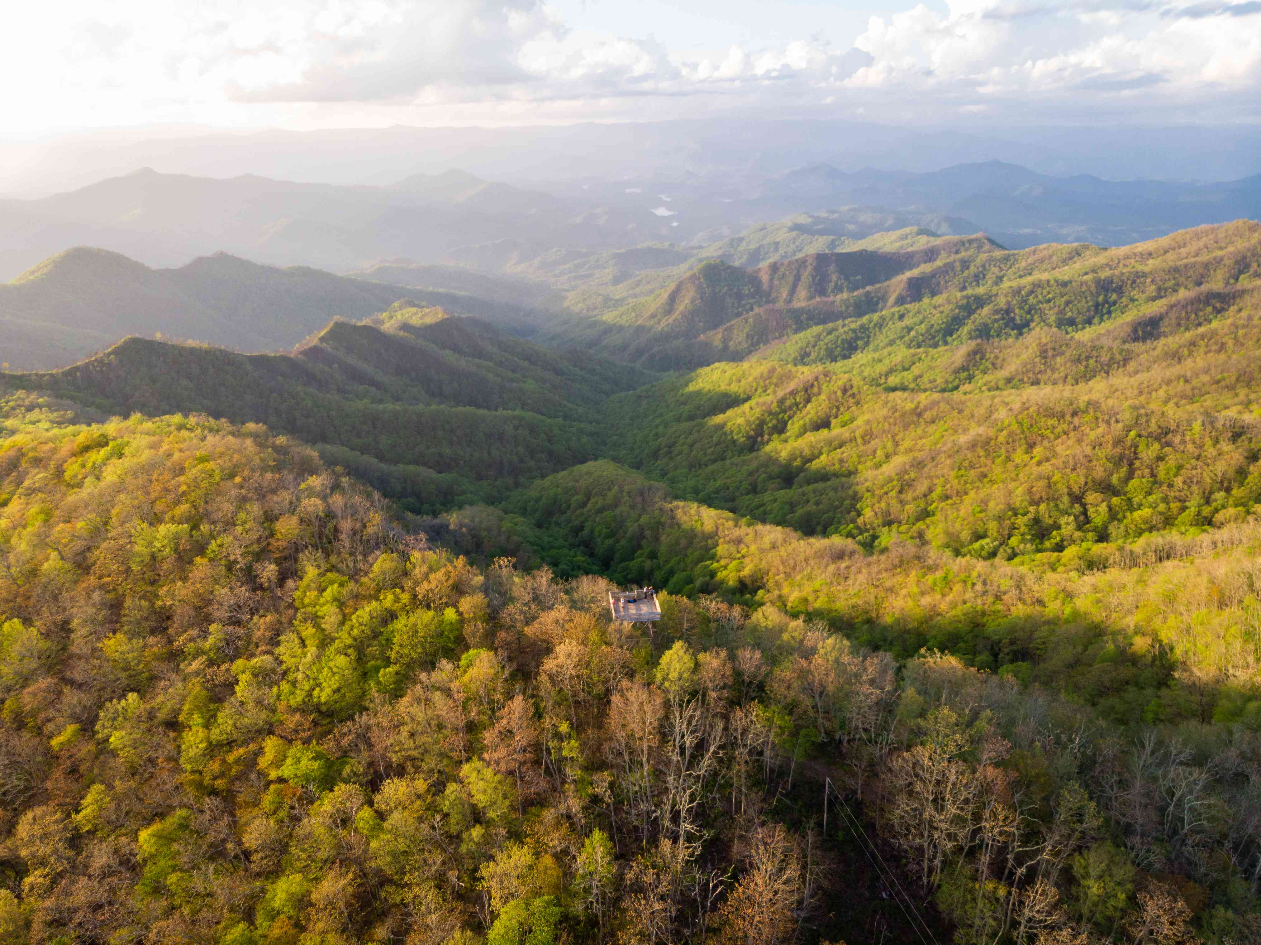 Aerial View of Wesser Bald Fire Tower in Western North Carolina at Sunset