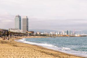 Barceloneta Beach and Barcelona city skyline