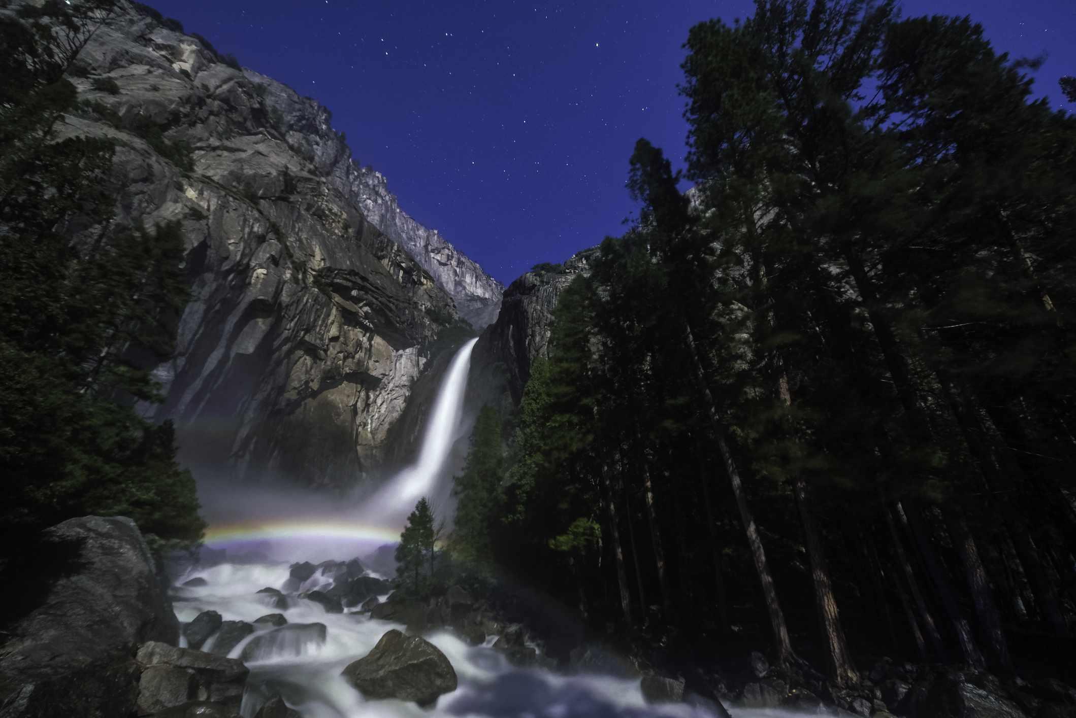 Moonbow Over Lower Yosemite Fall Horizontal