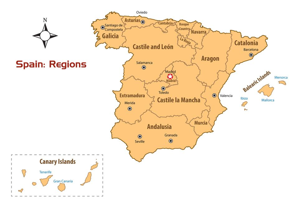 Andalucia On Map Of Spain.Regions Of Spain Map And Guide