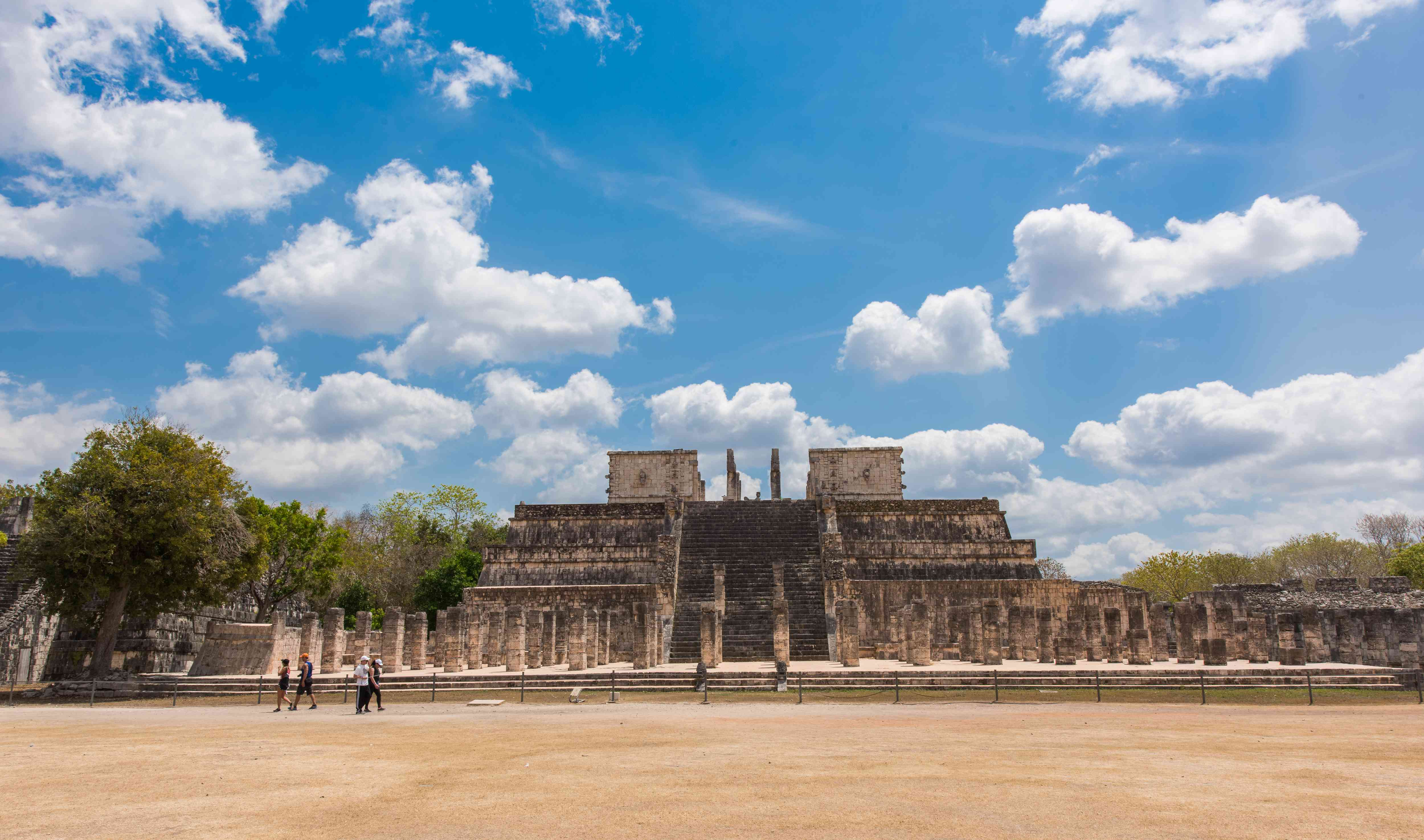 Archaeological site at Chichen Itza on a sunny day