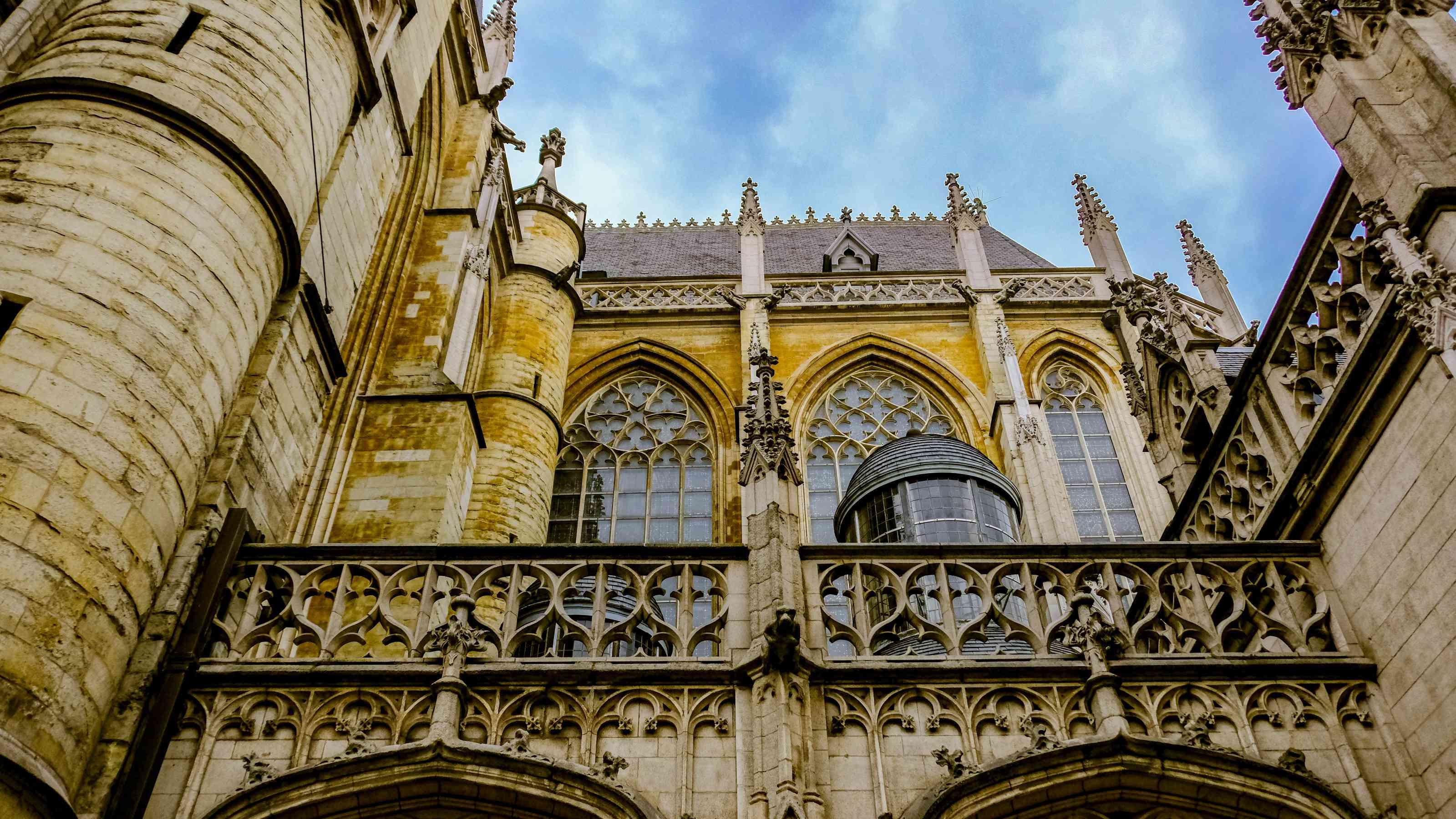 The ornate facade of Notre Dame Du Sablon