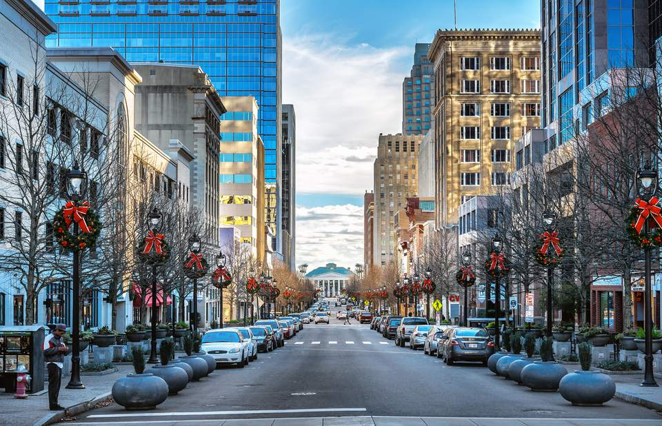 Fayetteville Street in Raleigh, NC decorated for Christmas
