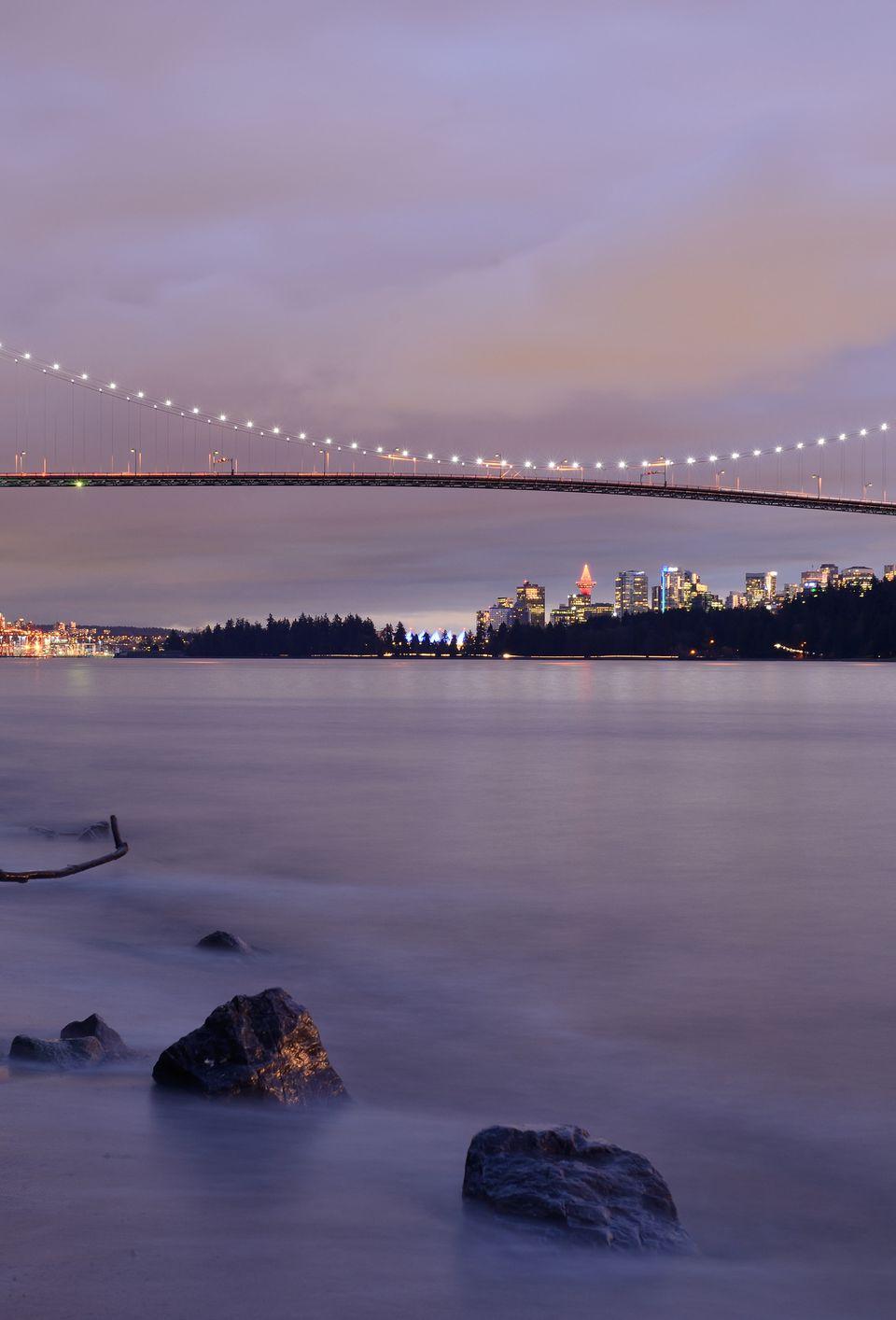 Lions Gate Bridge at night, Vancouver