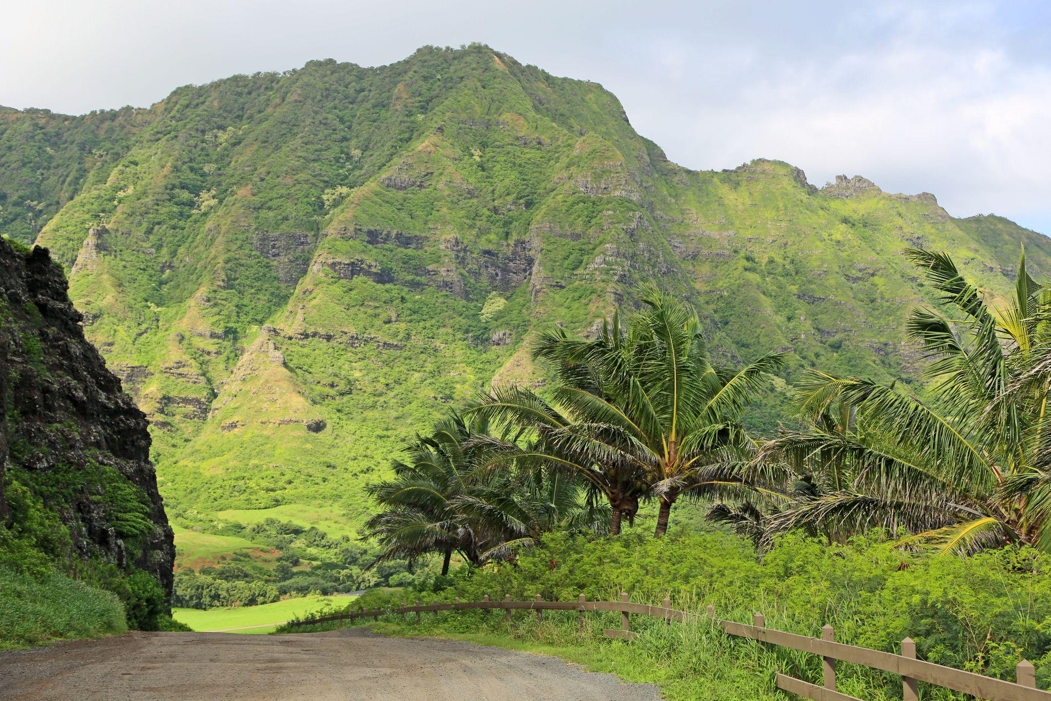 Landscape in Kualoa Ranch, Oahu, Hawaii.