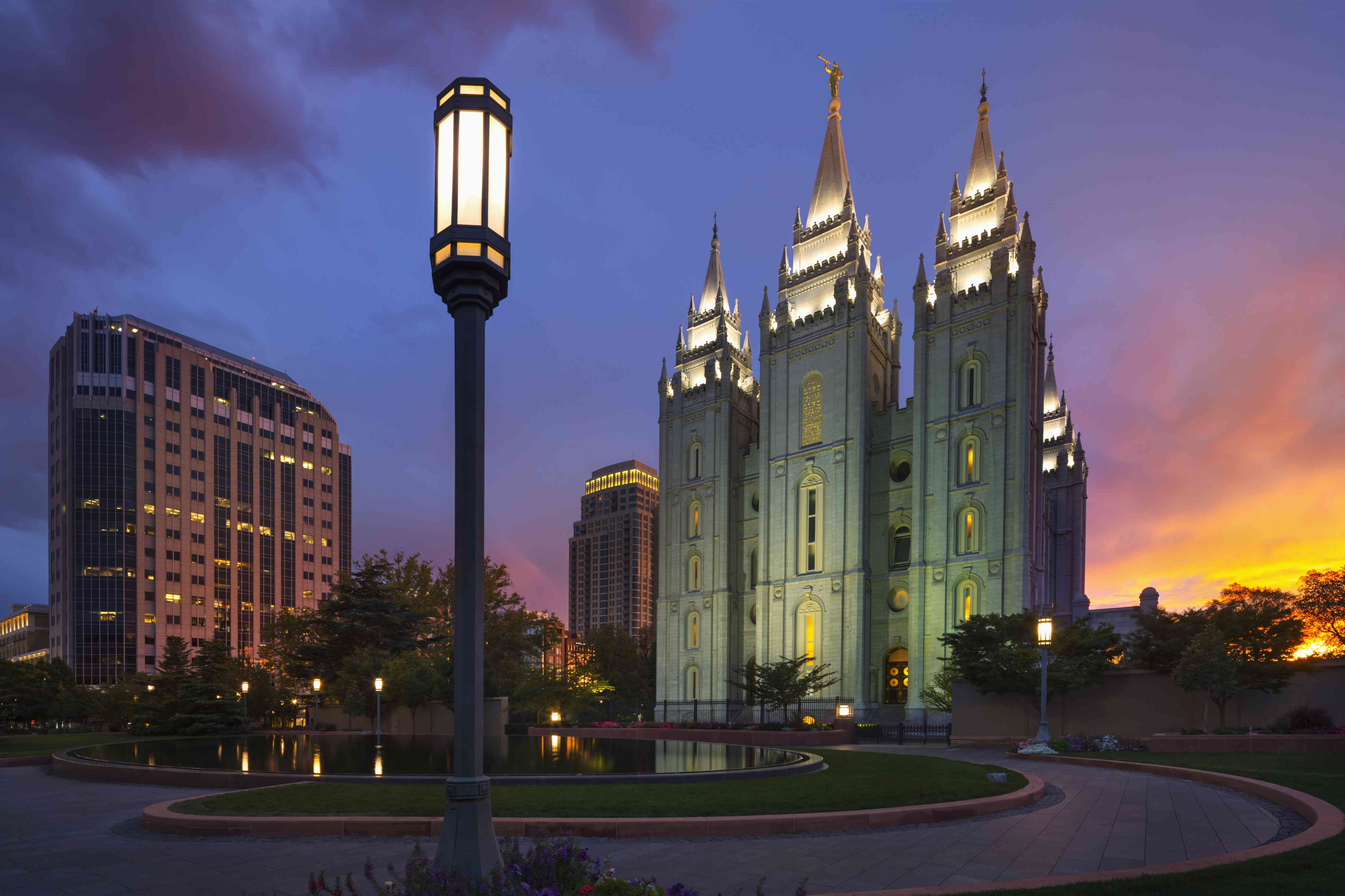 Temple Square at dusk.