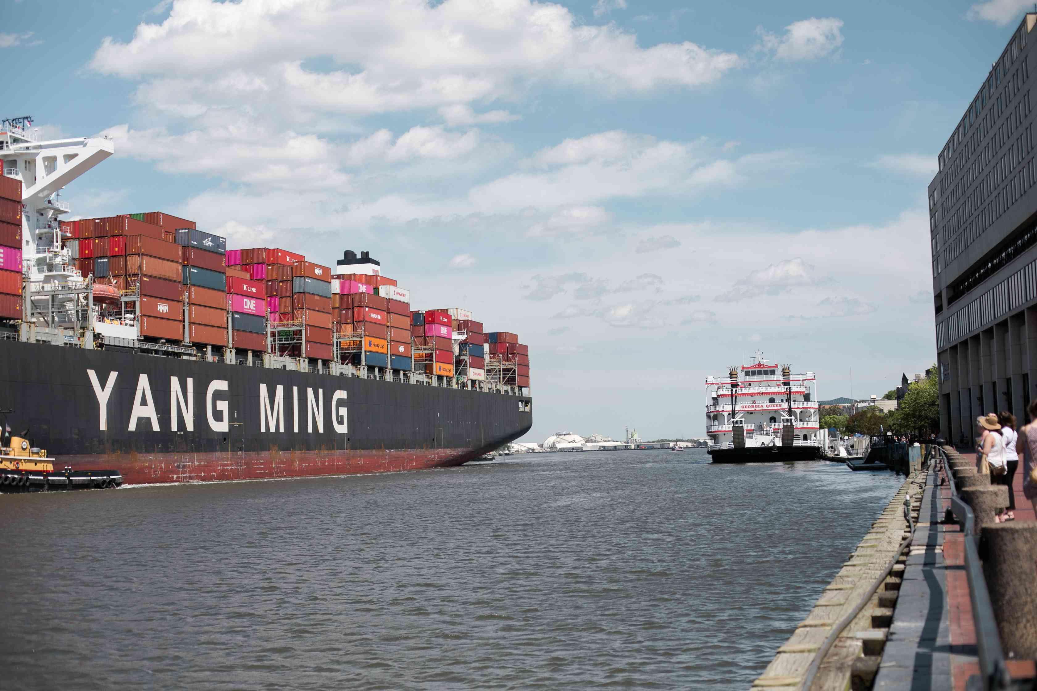 Ships Along the Savannah River in Georgia