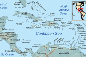 Map of the Caribbean islands and bordering countries.