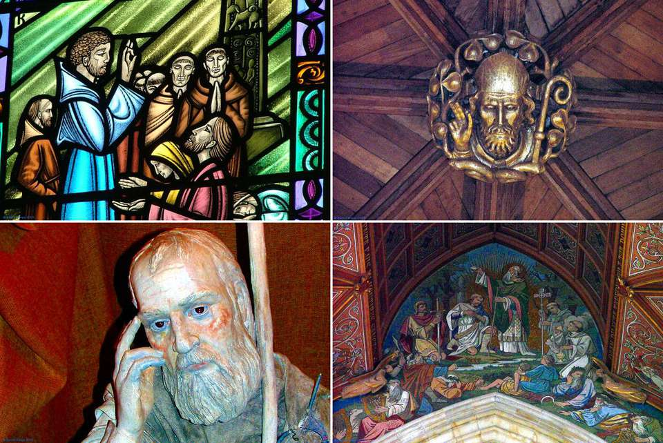 A composite of four images of Saint Patrick