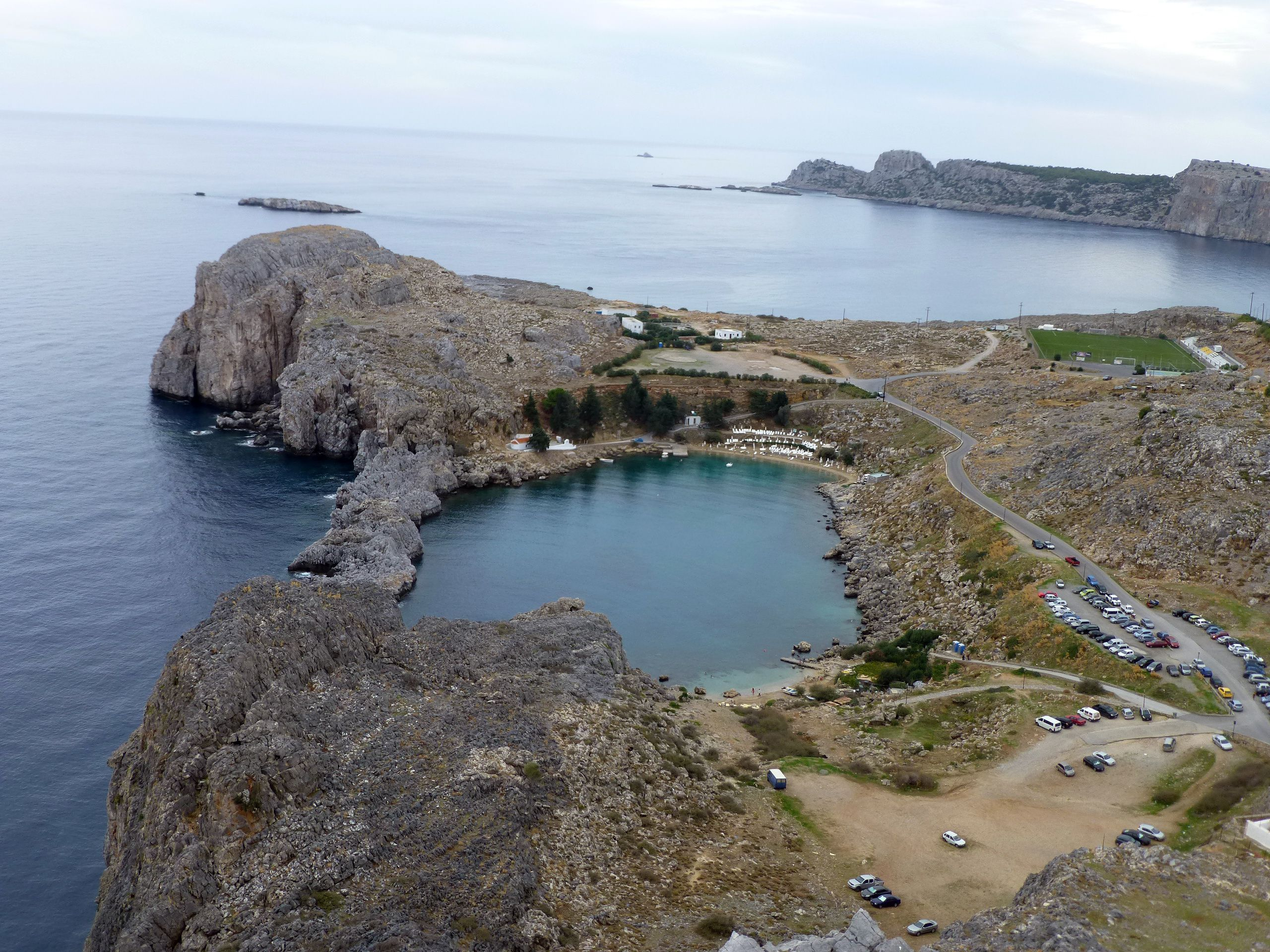 St. Paul's Bay at the Acropolis of Lindos, Greece on Rhodes