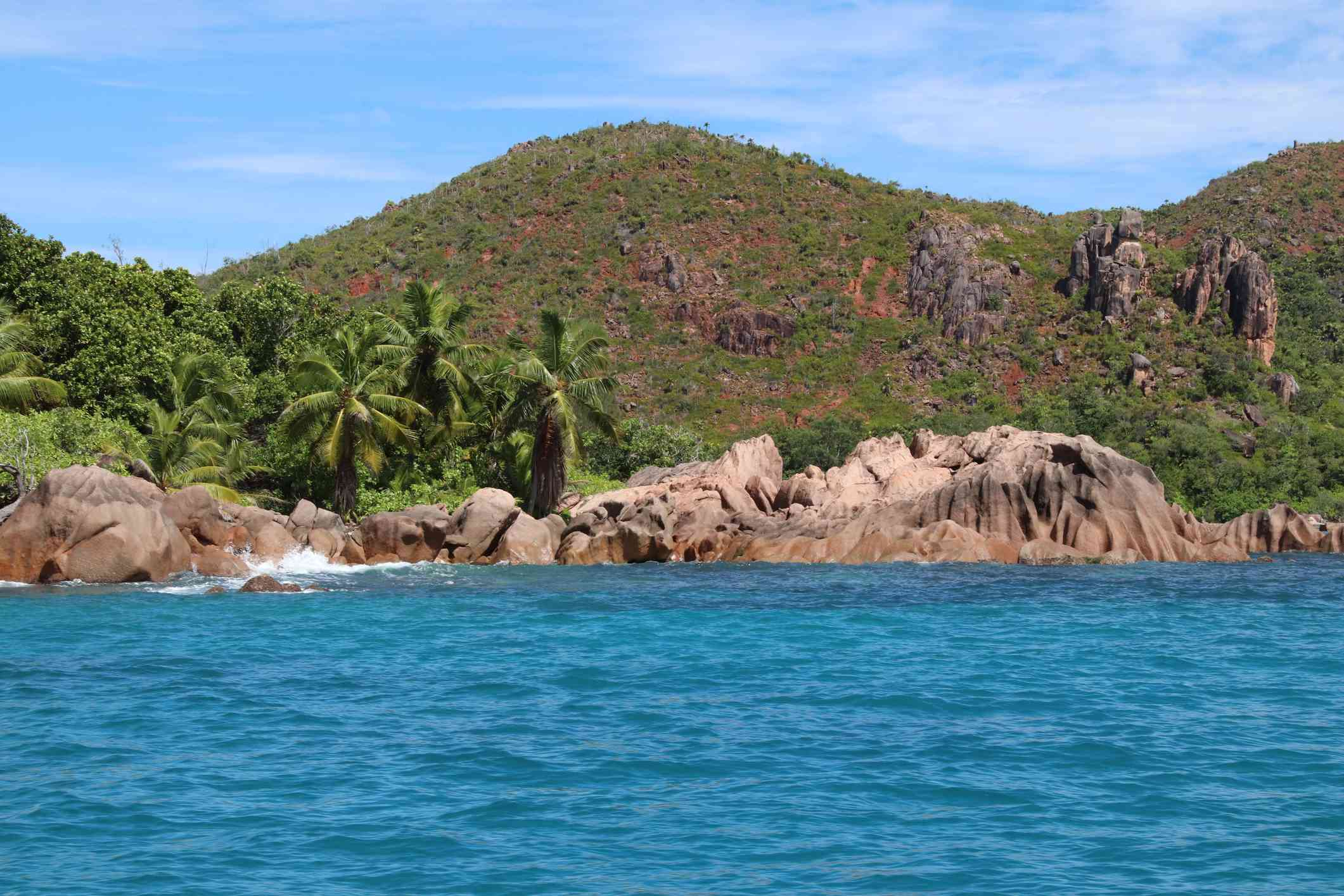 Red Granite Rocks at Beach close Old Turtle Pond and Laraie Bay at Curieuse Island, Seychelles,
