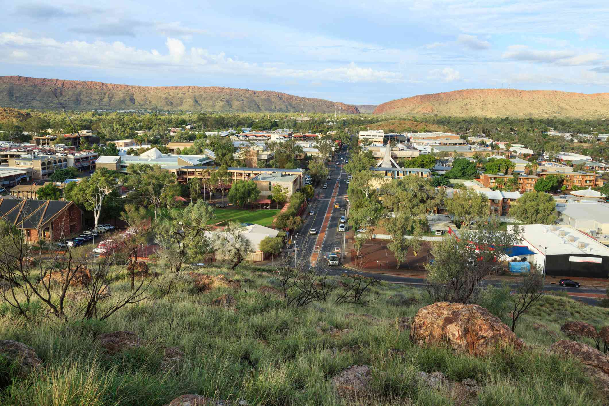 View of Alice Springs with blue sky from ANZAC Hill
