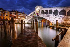 Blue Hour, Rialto Bridge, Venice, Italy