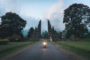 Man Riding Motorcycle On Road Amidst Trees Against Sky