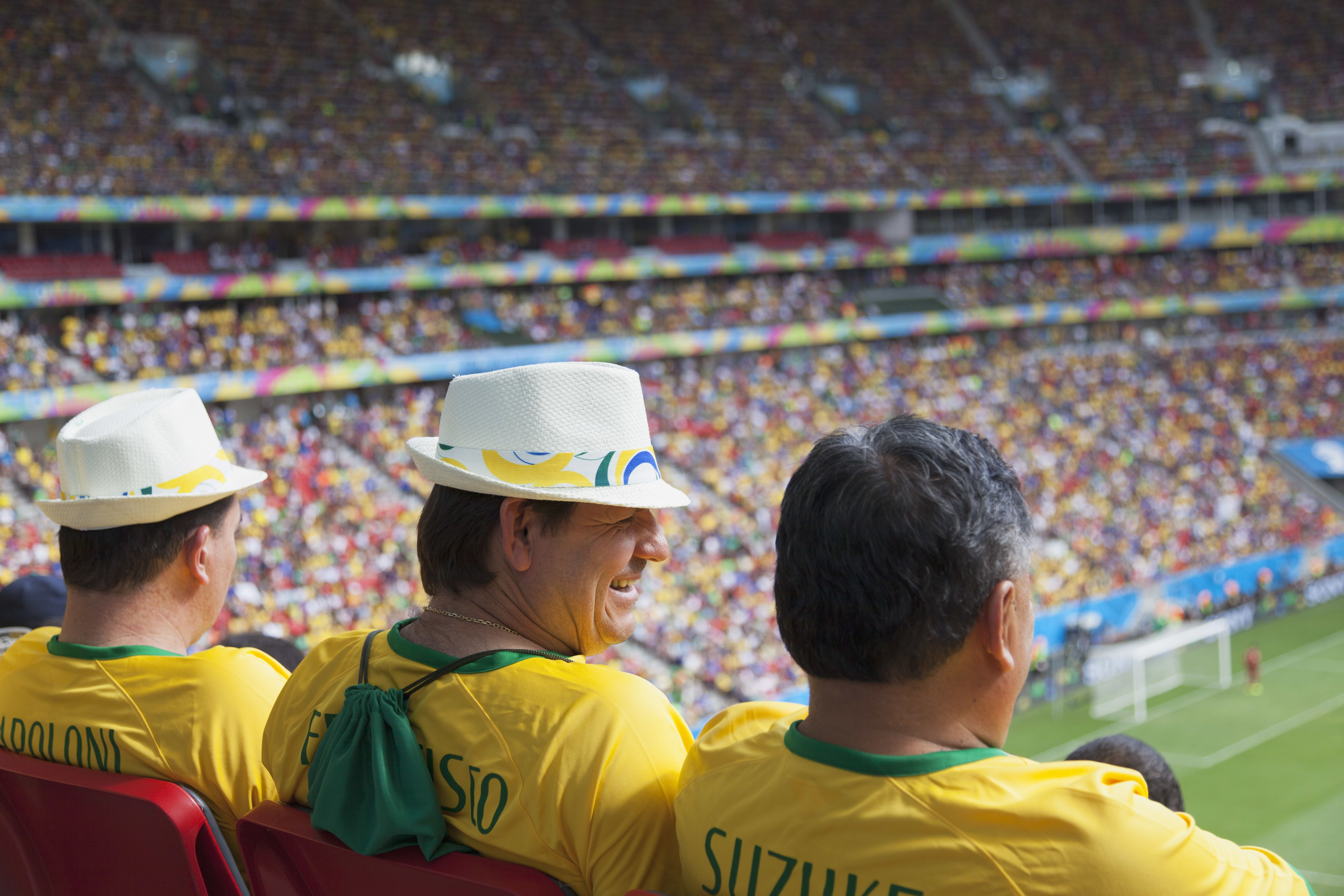 Football fans in Brazil shirts inside National Mane Garrincha Stadium for World Cup match, Brasilia, Federal District, Brazil