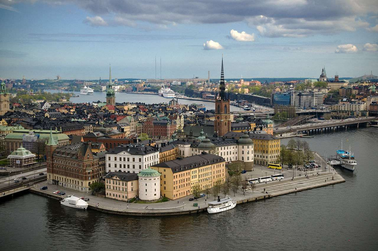 Riddarholmen in Stockholm as seen from the top of the City Hall tower.