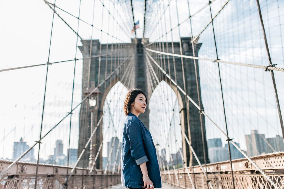 Woman on the Brooklyn Bridge
