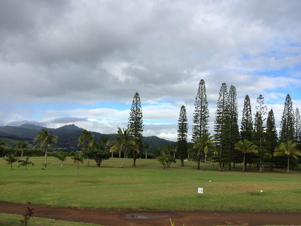 Campo de golf Kukuiolono en la distancia