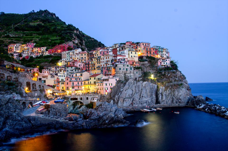 Cinque Terre lit up at night