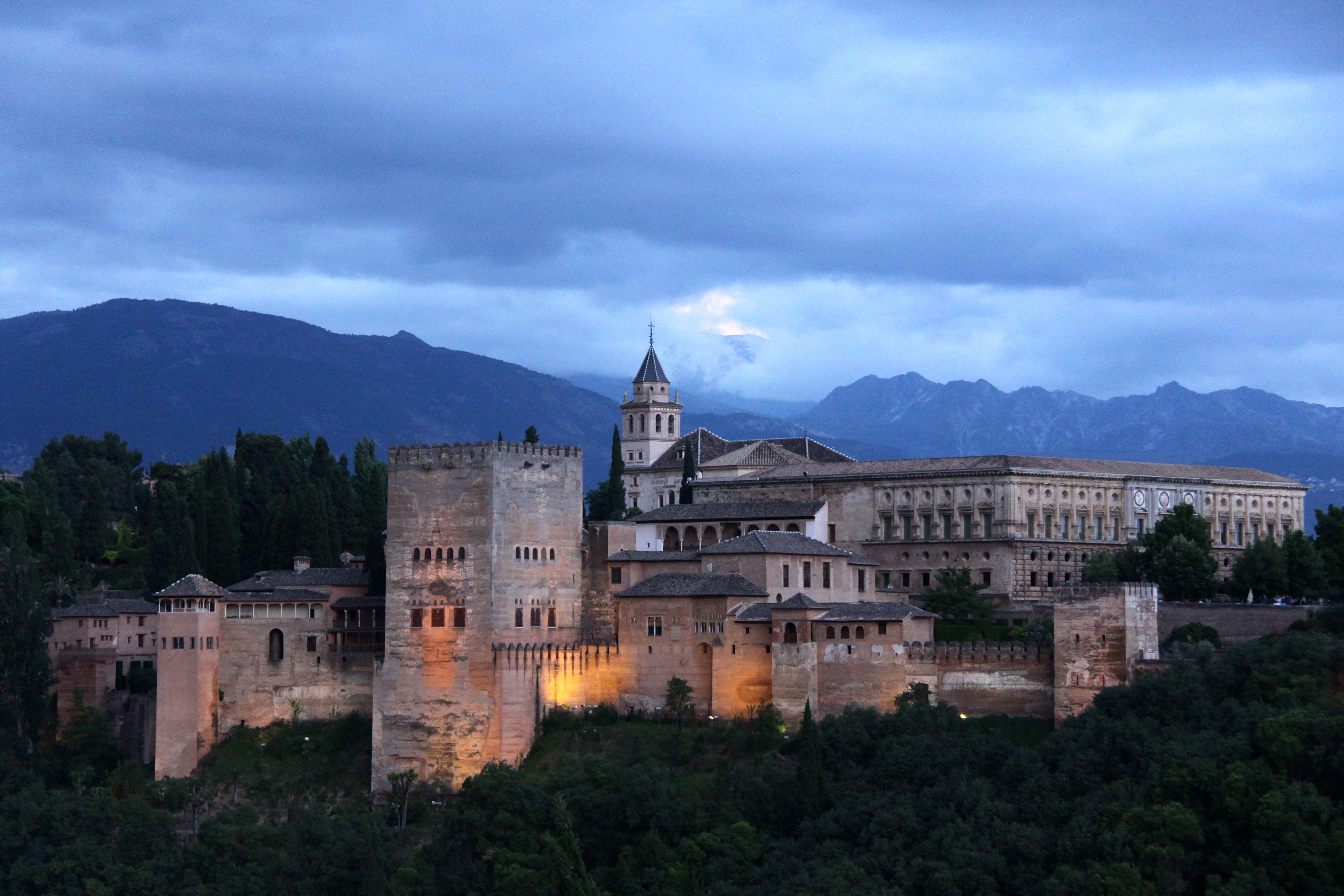 The Alhambra at Dusk in Granada, Spain