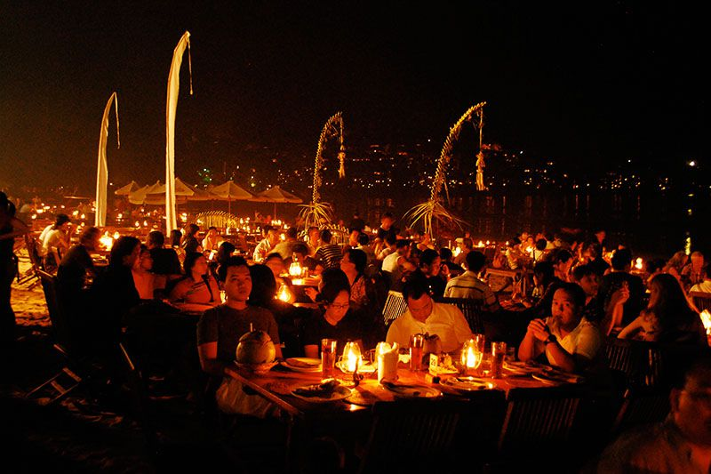 Dining by candlelight at Menega Cafe, Jimbaran Bay, South Bali