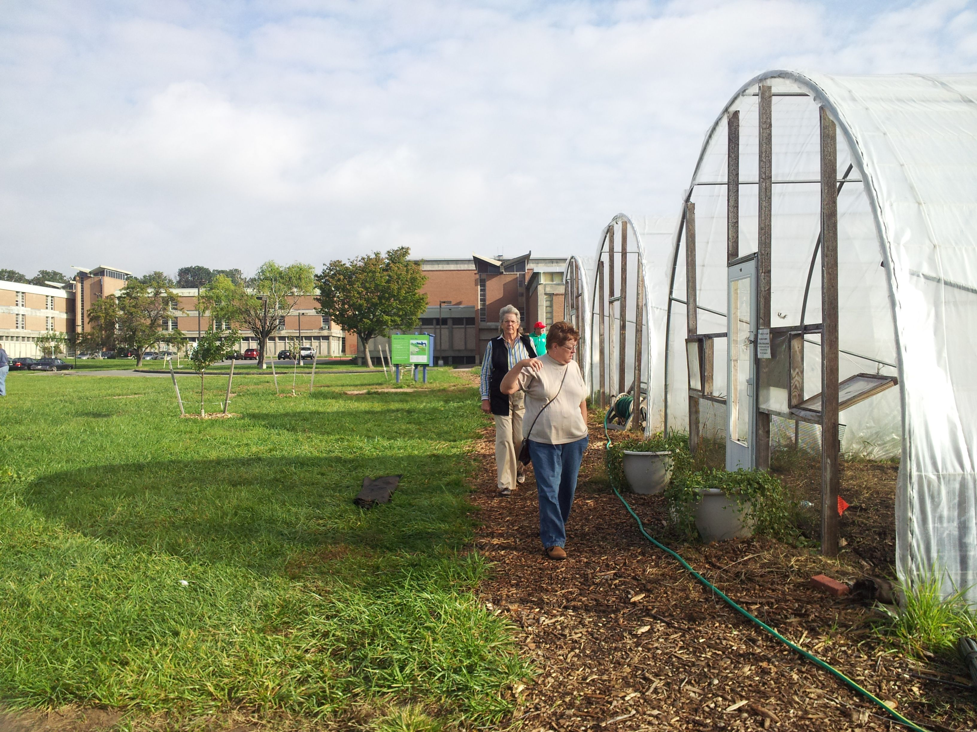 People visiting urban farm