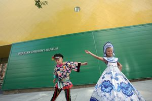 In this photo provided by Brooklyn Children's Museum, Russian dancers Alexandra Lyalikov, 8, and Dmitri Lyalikov, 6, of the Brighton Ballet Theater, celebrate the opening of the newly expanded Brooklyn Children's Museum, Wednesday, Sept. 17, 2008, in the Brooklyn borough of New York.