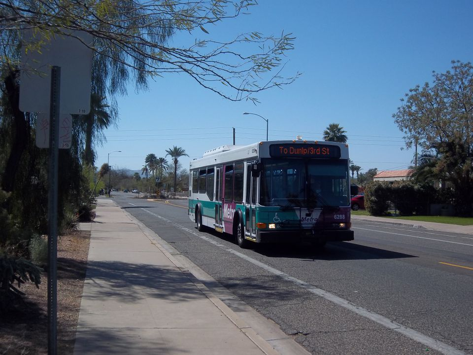 A Valley Metro NABI bus operates down 12th Street in Phoenix, Arizona.