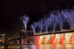 This firework scene at Brooklyn Bridge with captured on the 2014 Independence Day (7/4/2014), nearby pier 17 in Manhattan