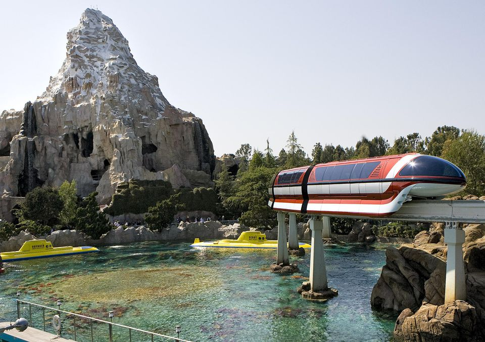 Disneyland Submarine Voyage, Monorail, and Matterhorn attractions