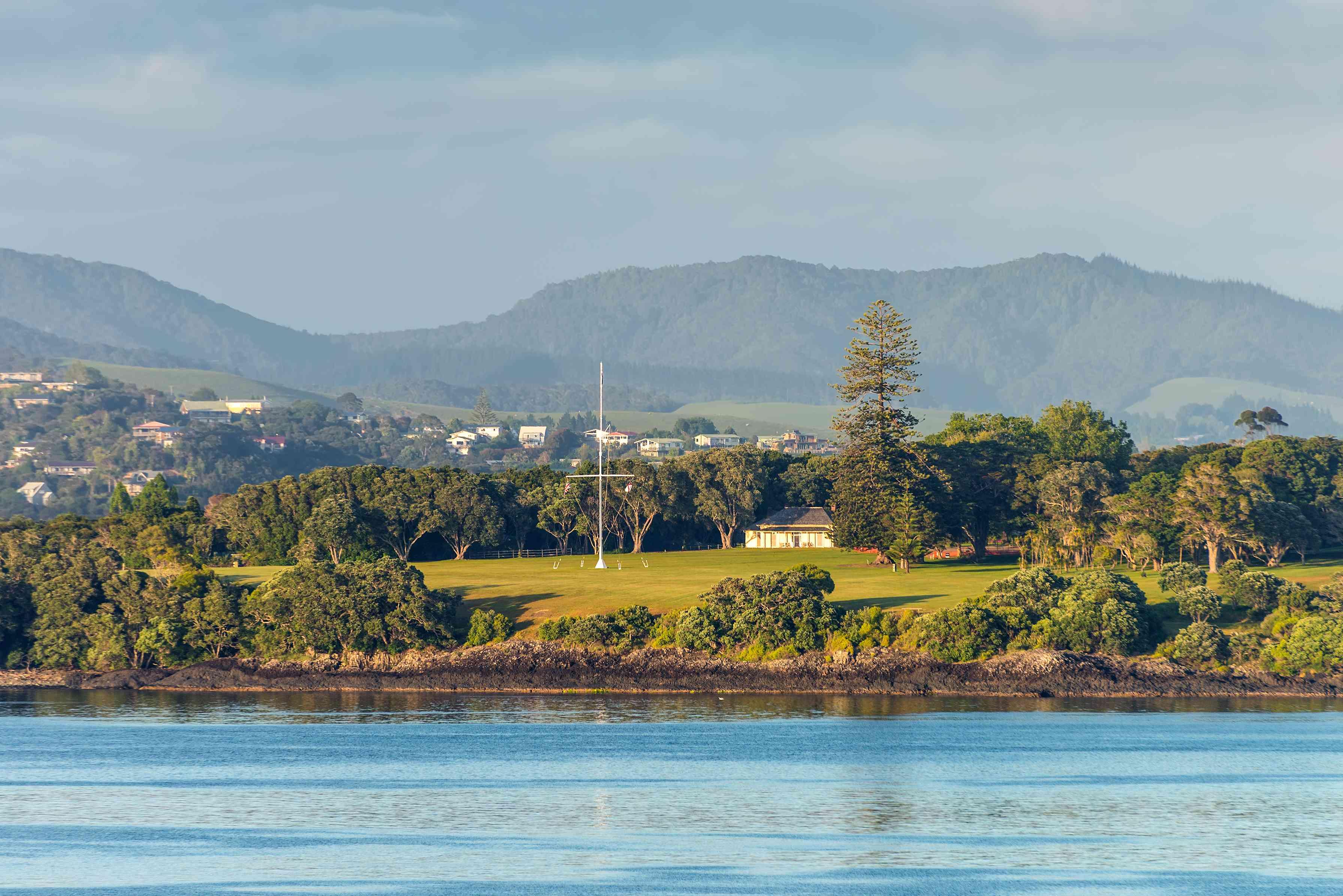 Terrenos del tratado de Waitangi en Paihia, Northland, Nueva Zelanda