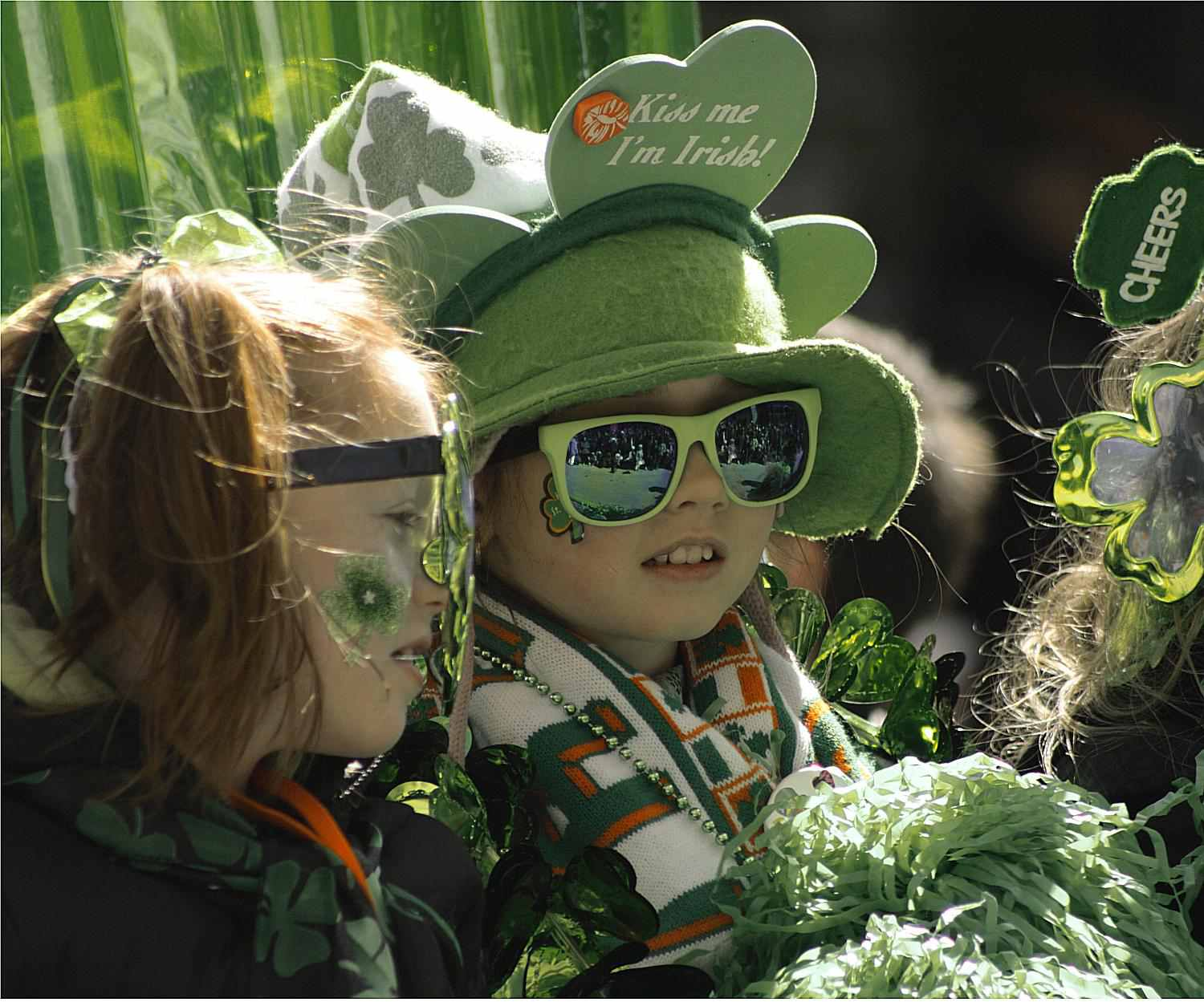 Children watching the St. Patrick's Day Parade, Montreal, Quebec, Canada