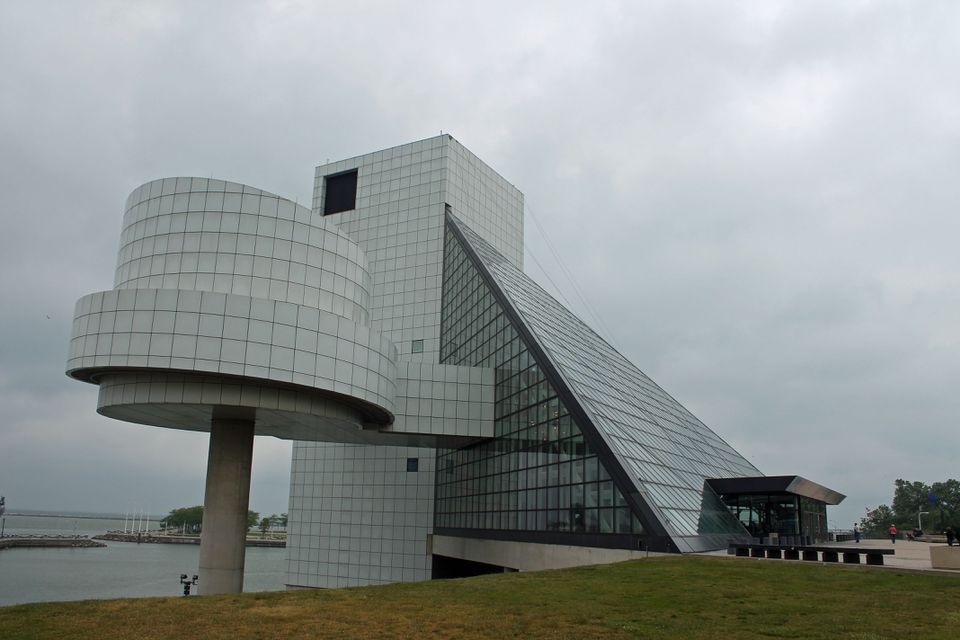 Cleveland's iconic Rock and Roll Hall of Fame is situated in a distinctive building overlooking Lake Erie