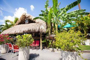 Thatched roof Exterior of Hogfish Bar & Grill