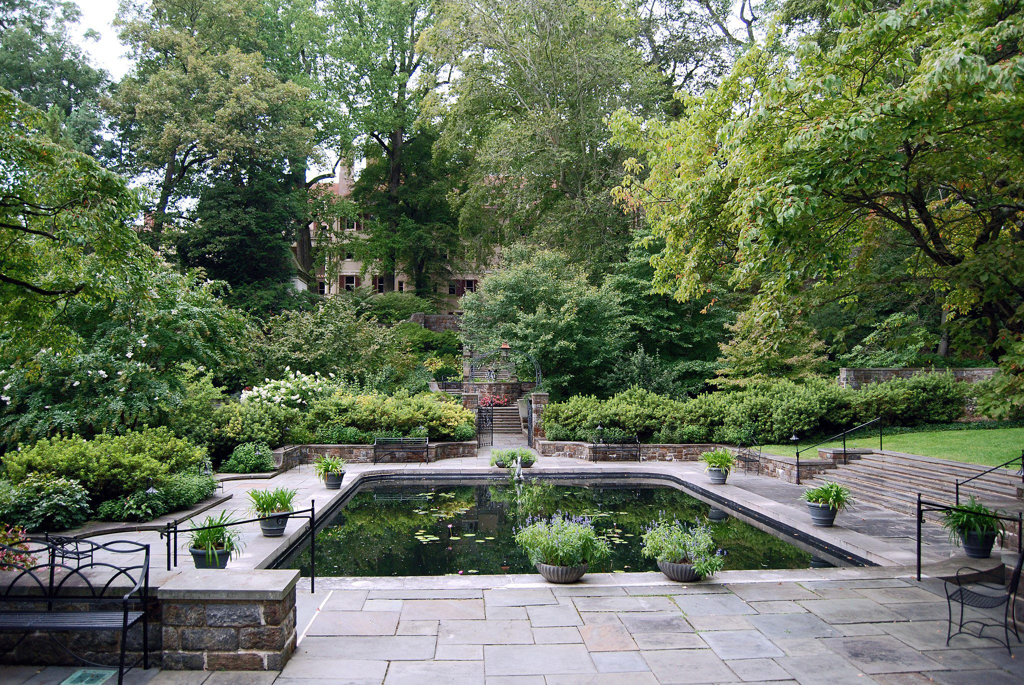 View of the Winterthur House from the Reflecting Pool