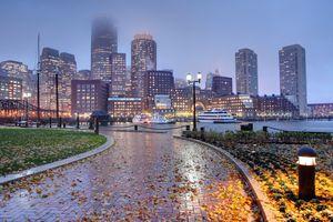 Rainy autumn night in Boston