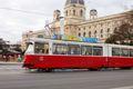 A tram on a street in Vienna, Austria