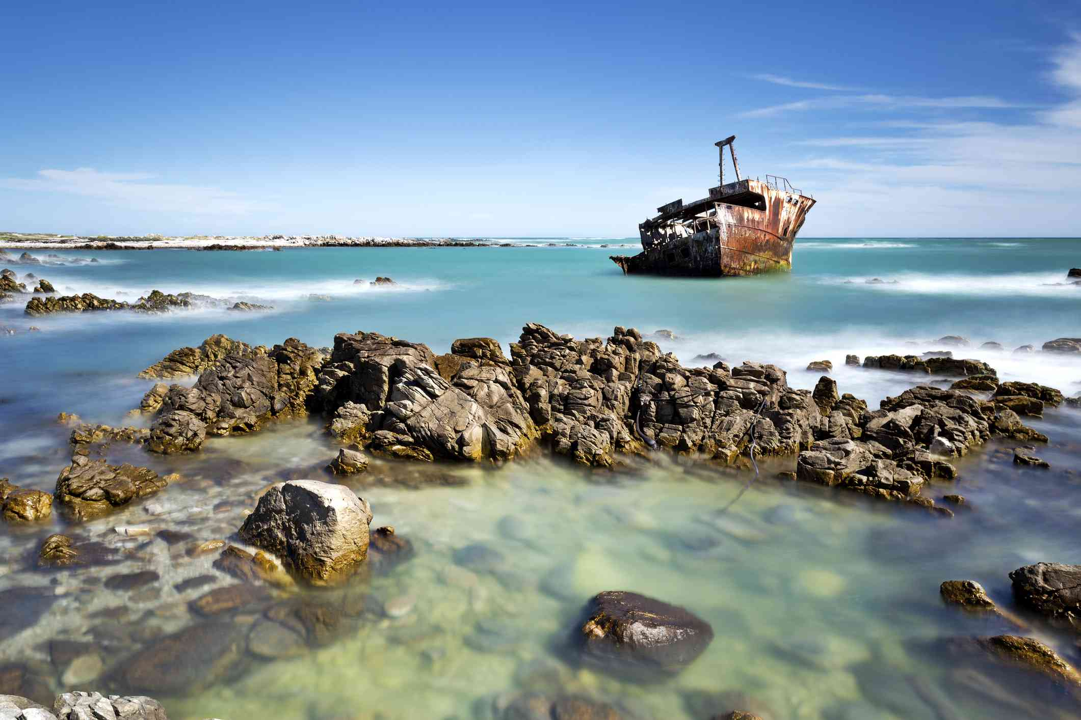 shipwreck off a rocky coast in Cape Agulhas