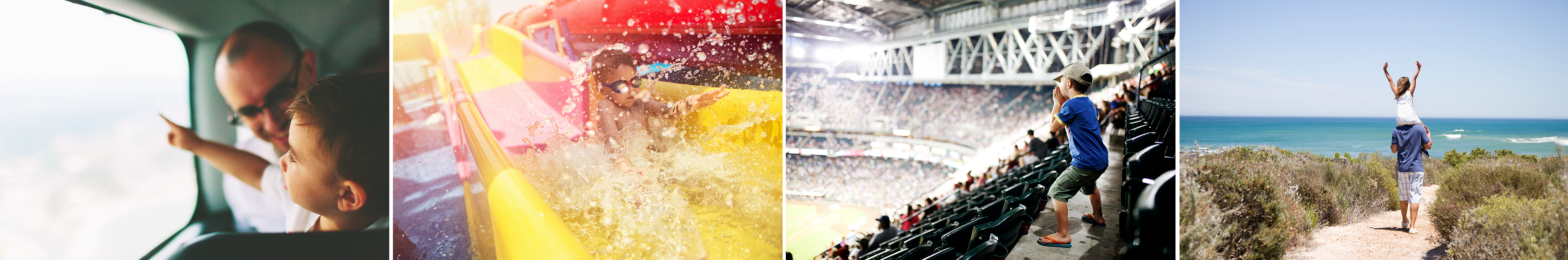 A collage of pictures including a child on a waterslide, a child watching a sporting event in a stadium, and a father carrying his daughter on his shoulders as they walk a path to a beach