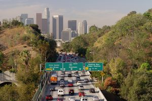 Aerial view of traffic driving to downtown Los Angeles, California, United States