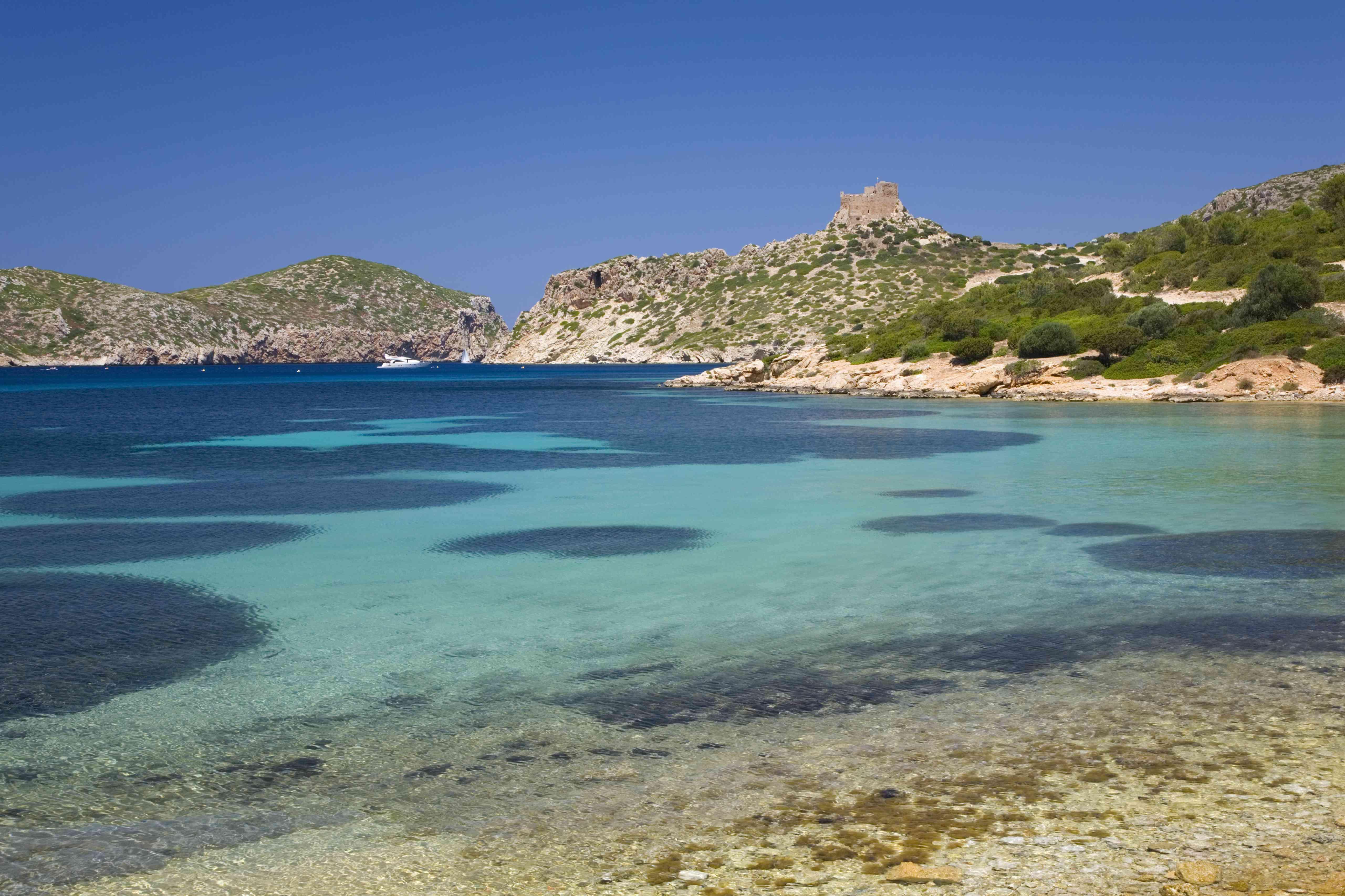 View across bay to the castle, Cabrera, Mallorca