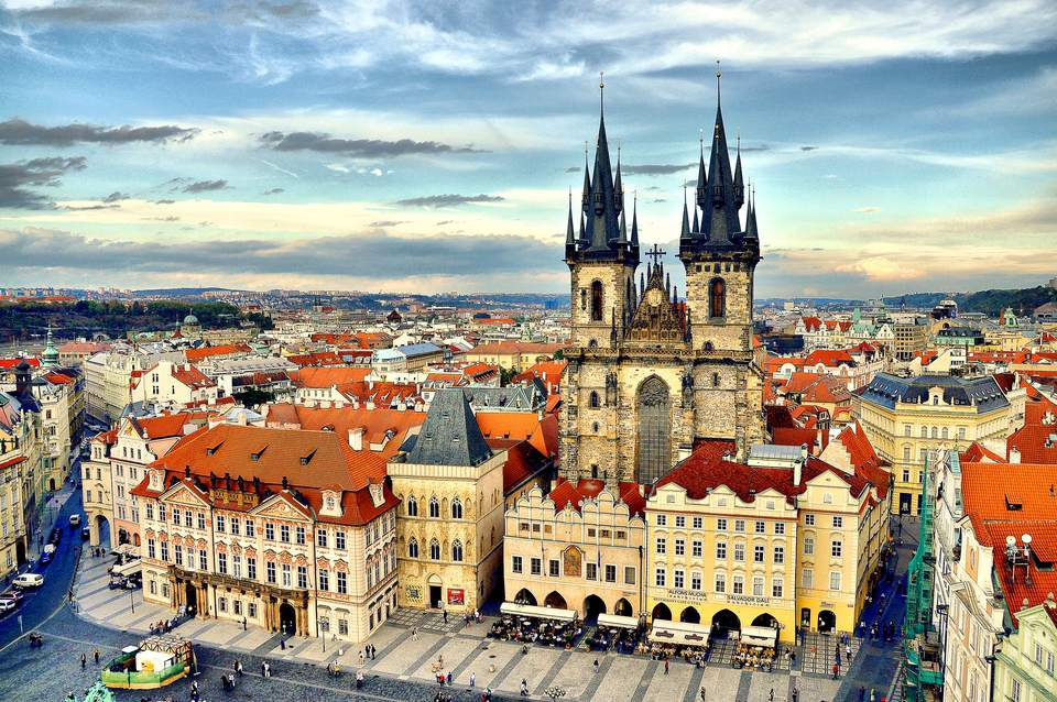Prague castle with a view of the city