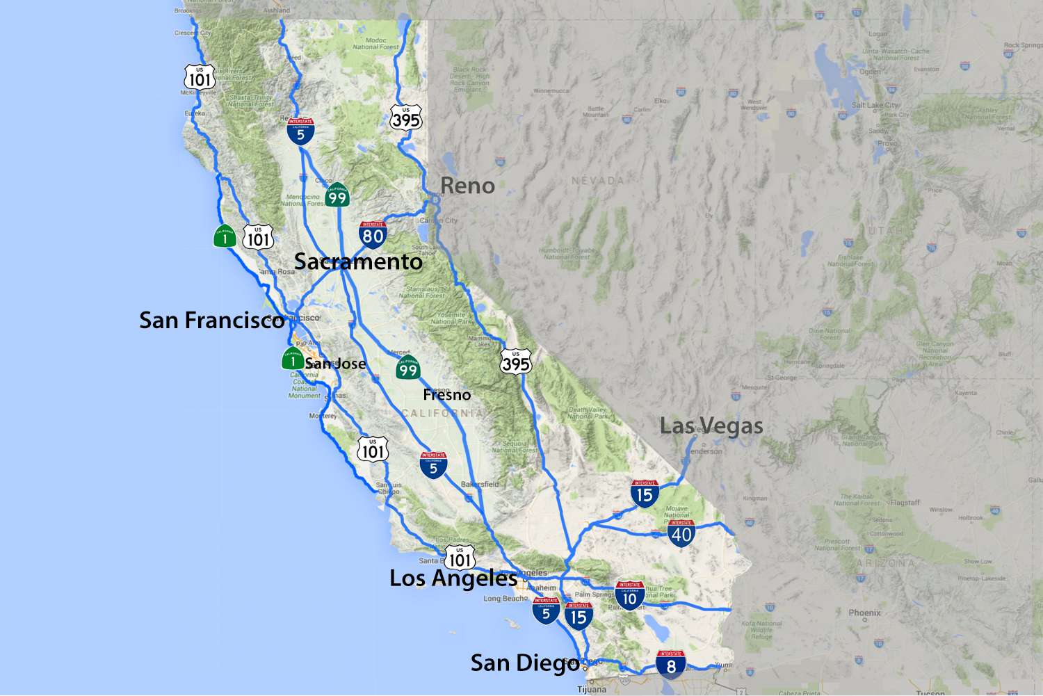 Map Of California Highway 99.Maps Of California Created For Visitors And Travelers