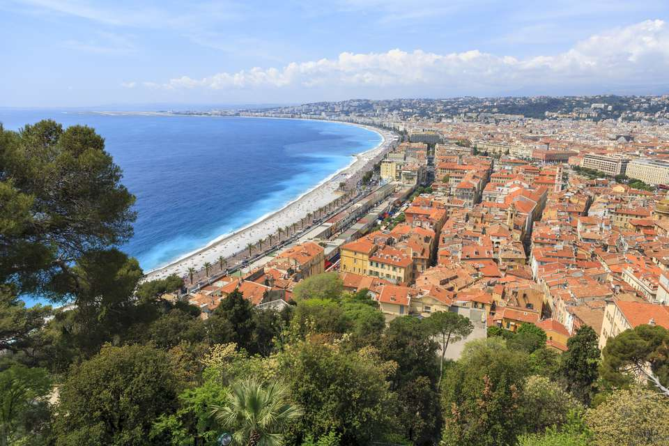 View of Nice, France and the Mediterranean Sea
